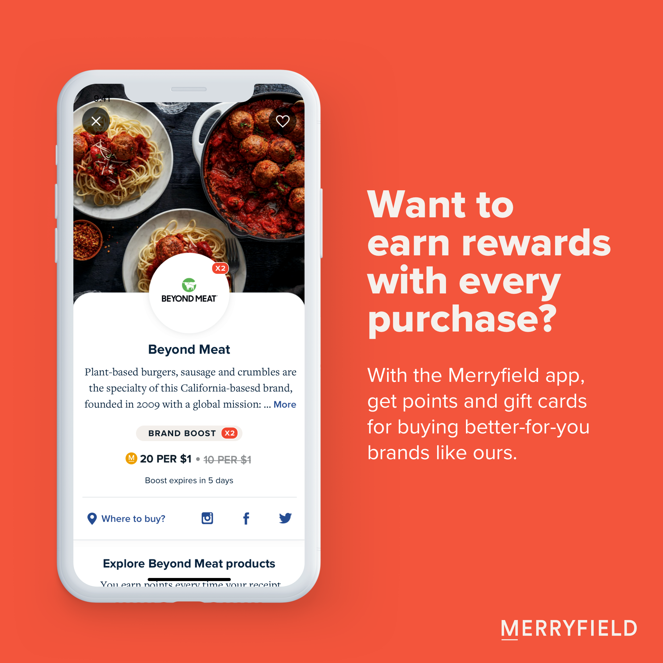 Want to earn rewards with every purchase? With the Merryfield app, get points and giftcards for buying better-for-you brands.